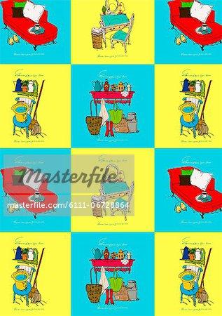 Vintage Furniture Icon Set