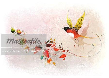 Bird On Flowering Tree