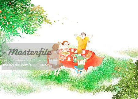 Family Having Outdoor Dinner