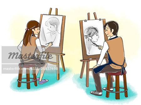 Boy And Girl Doing