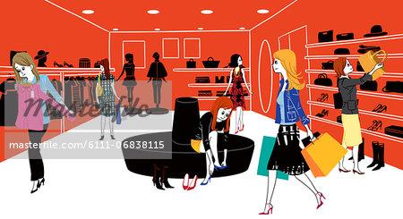 Women shopping in shopping centre