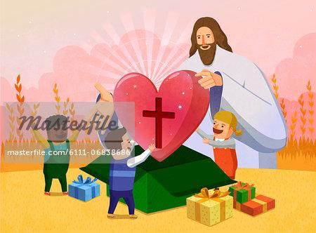 Jesus christ huge heart gift to children stock photo jesus christ huge heart gift to children stock photo negle Choice Image