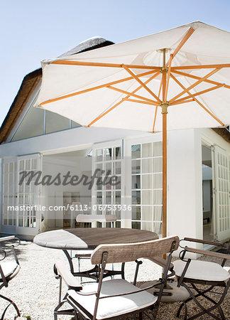 Umbrella over table in backyard