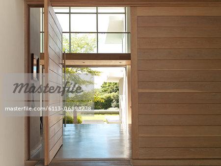 Open door in modern house