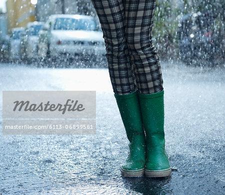 Rain falling around woman in wellingtons