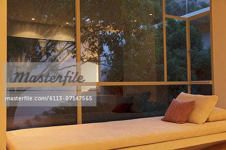 Window seat overlooking courtyard
