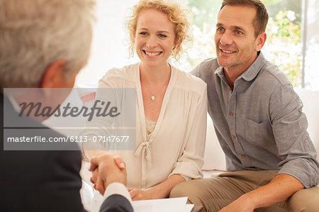 Businessman meeting clients