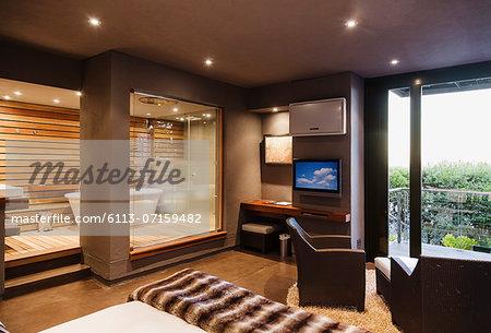 Modern bedroom and bathroom