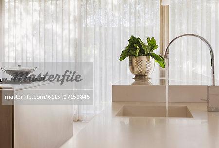 Vegetables by sink in modern kitchen