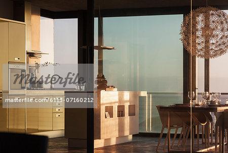 Windows surrounding modern kitchen