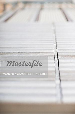 Close up of conveyor belt in factory
