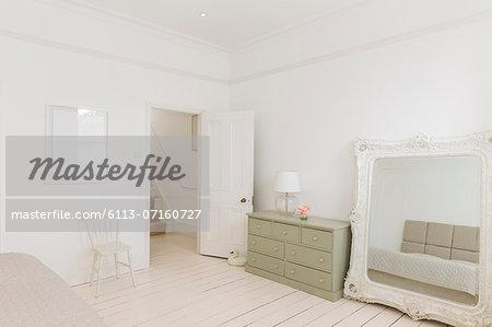 Mirror and dresser in bedroom