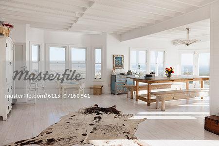 Animal skin rug in sunny dining room