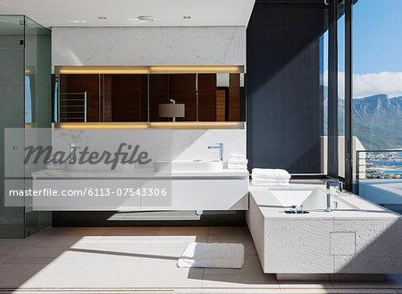 Sinks and bathtub in modern bathroom