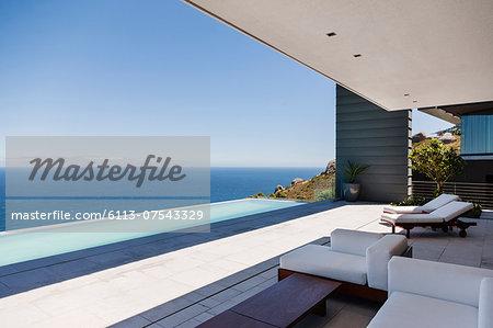 Modern patio overlooking ocean