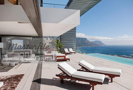 Modern patio and infinity pool overlooking ocean