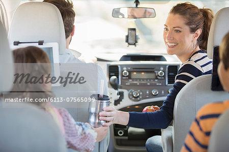 Family inside car