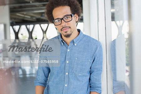 Portrait of confident businessman wearing eyeglasses