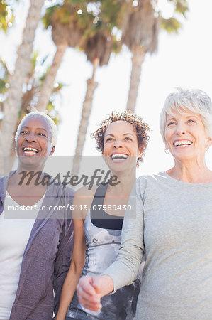 Senior women power walking outdoors