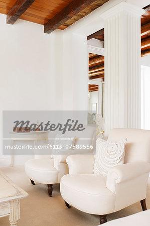 Luxury living room with pillar