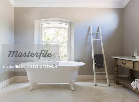 Claw foot tub in luxury bathroom