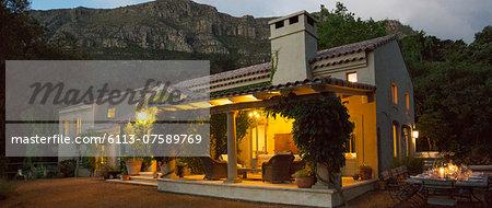 Luxury villa illuminated at night