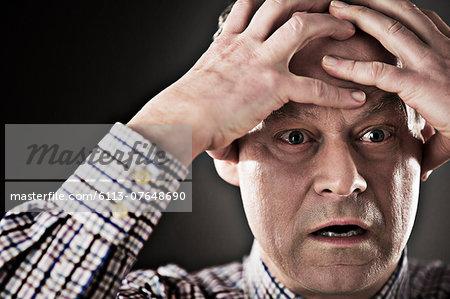 Close up of stressed businessman