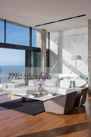 Sliding glass doors of modern living room