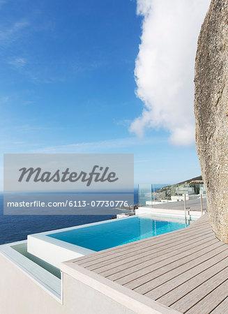 Modern swimming pool overlooking ocean