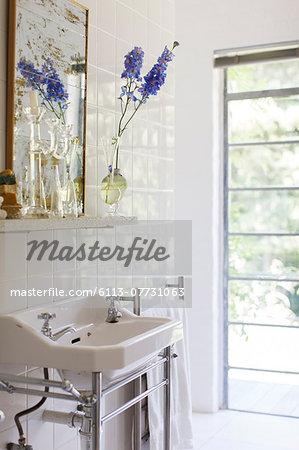 Sink and mirror in modern bathroom