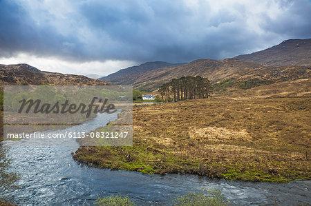 Loch Eilt winding through remote highlands, Glenfinnan, Scotland