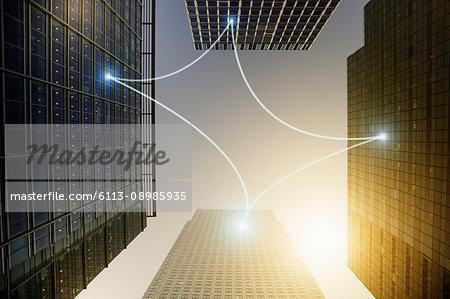 Fiber optic light communication connecting highrise buildings, concept