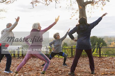 Active seniors practicing yoga in autumn park
