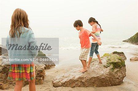 Three children on beach