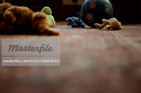 Children's toys on rug
