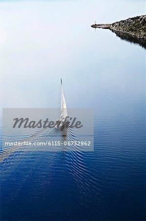 Croatia, Sailboat on the move, aerial view