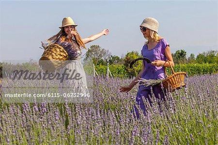 Young Women in Lavender Field,  Croatia, Dalmatia, Europe