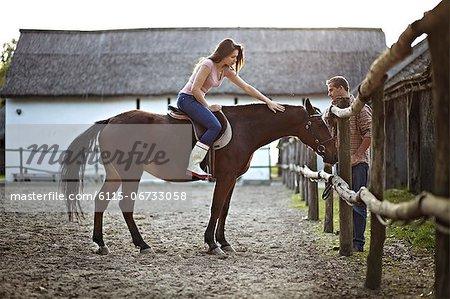 Woman Getting Riding Lesson, Baranja, Croatia, Europe