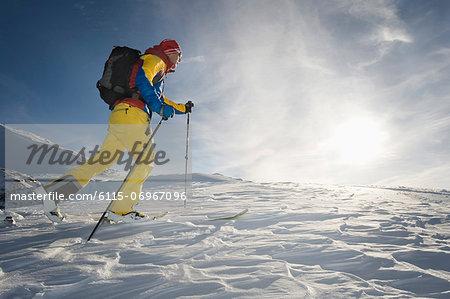 Backcountry skier on the move, Alpbachtal, Tyrol, Austria, Europe