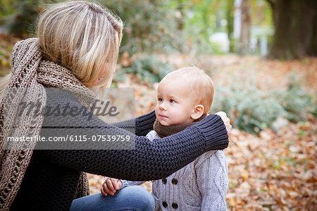 Mother with child in autumn, Osijek, Croatia