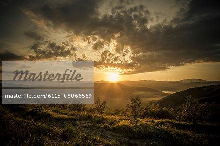 Sunset over hilly landscape, Istria, Croatia