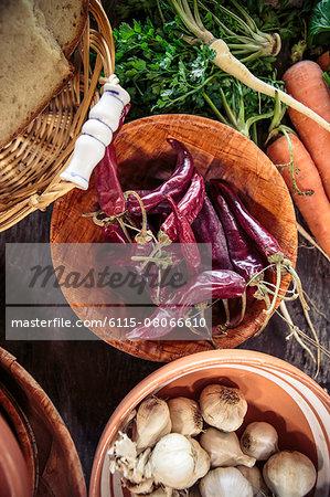 Variety of fresh ingredients and vegetables