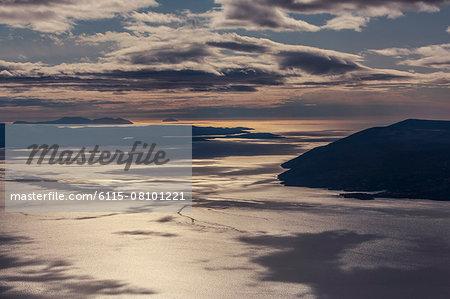 Dinaric coastline with dramatic sky, National Park, Biokovo, Croatia