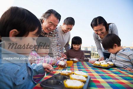 Birthday party, multi-generation family