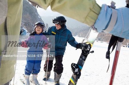 Family Skiing in Ski Resort