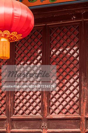 Door and red lantern of Chinese pagoda, Shanxi Province, China