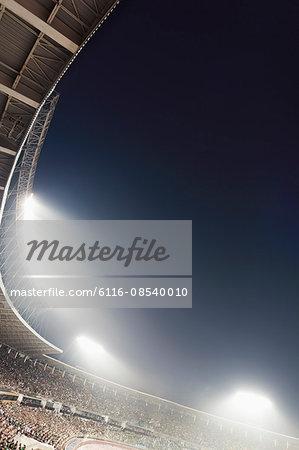 View of stadium lights at night