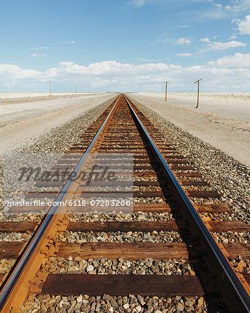 A railroad extending through the desert, near Wendover in Utah.