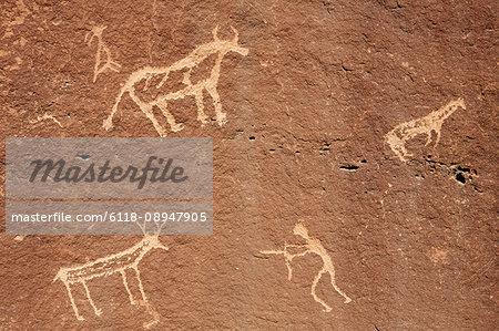 Detail of prehistoric Native American petroglyphs, near Bluff, Utah