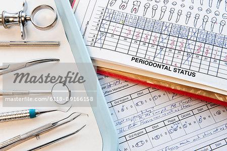 Closeup of dental tools and dental records in a dental